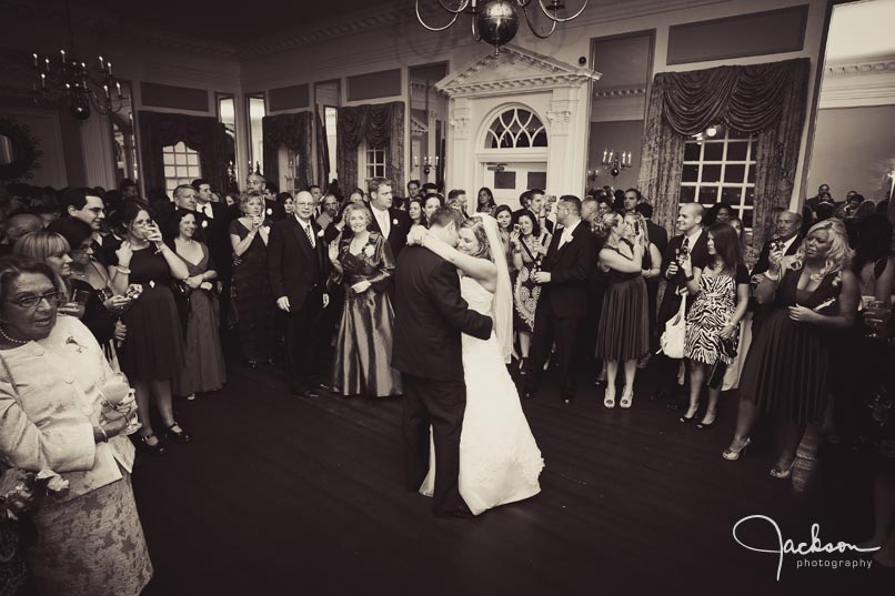 bride and groom embracing during first dance