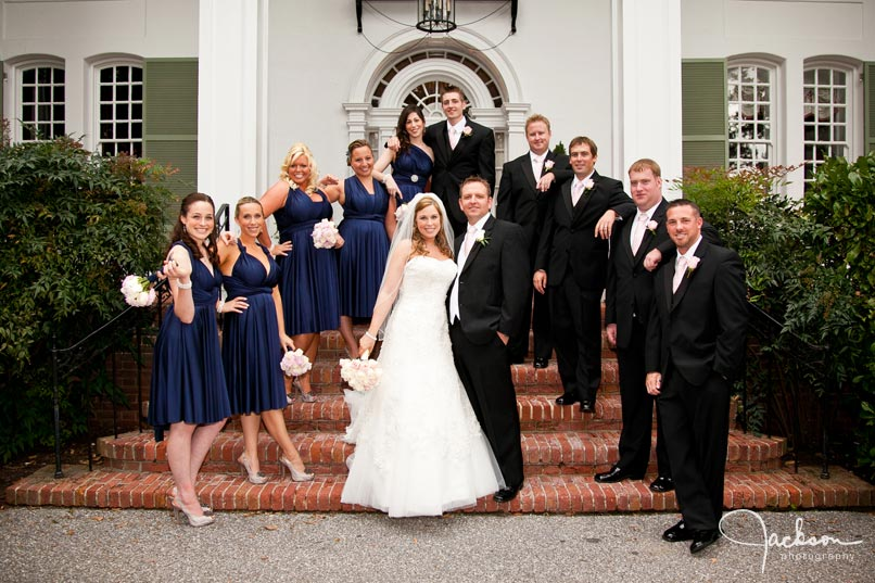black and blue bridal party