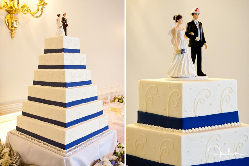 white and blue square tiered cake