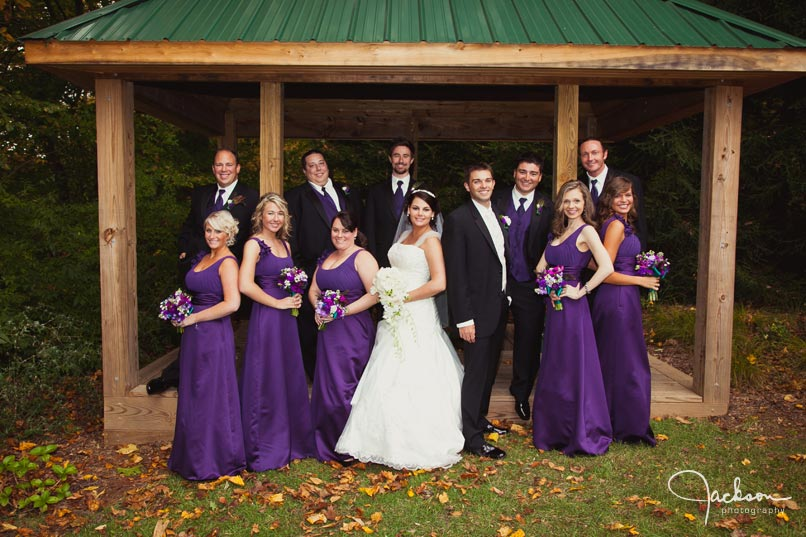 bridal party purple and green