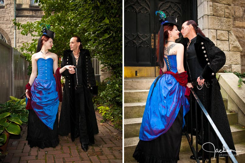 wedding couple in renaissance gothic clothing