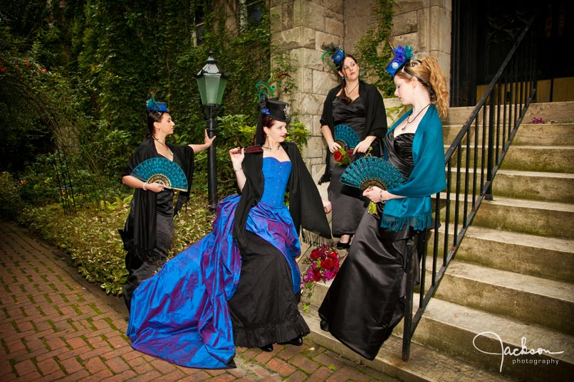 renaissance gothic bridal party on church staircase