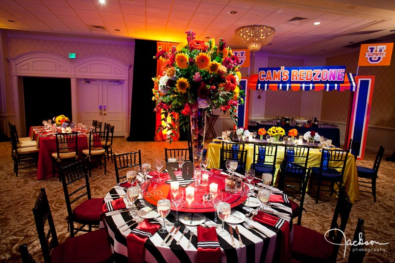 college sports themed bar mitzvah reception