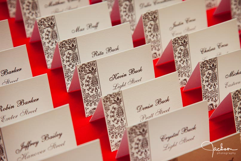 place cards white and black and red