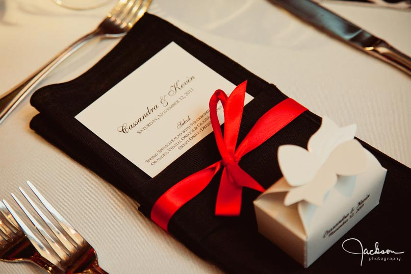 place setting in black white and red