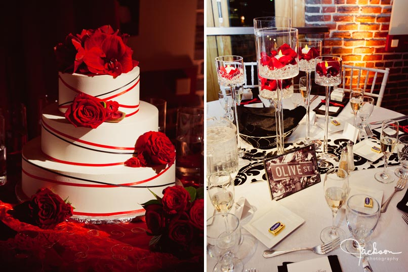 red and white striped wedding cake
