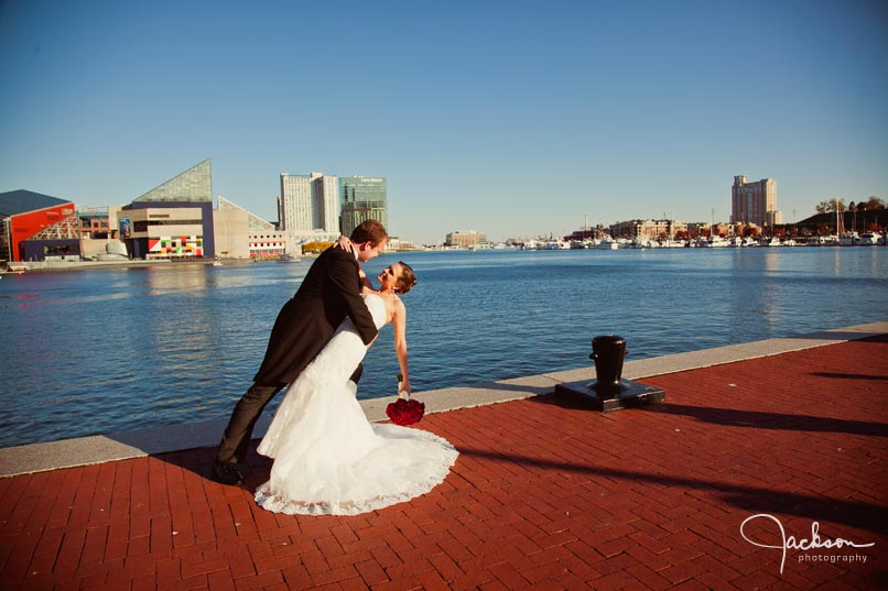 bride and groom at inner harbor