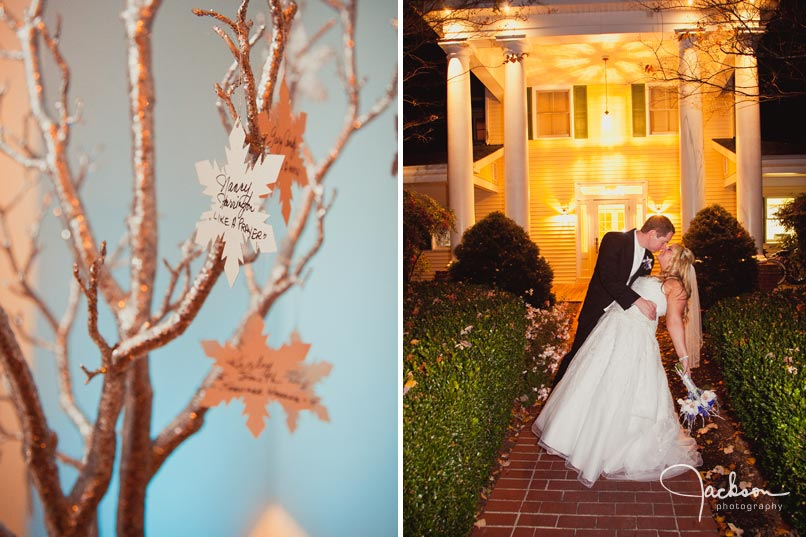bride and groom kissing in front of the oaks