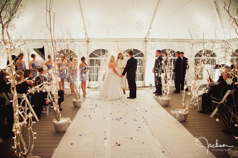 ceremony at the oaks in a tent