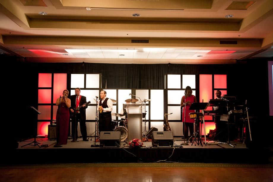 band playing at the heart ball