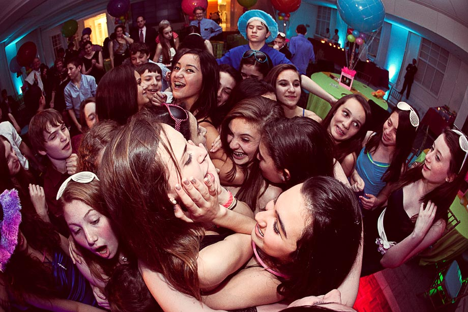 mitzvah girl surrounded by friends