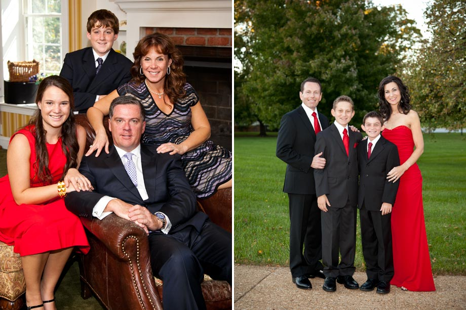family portraits in home and outside