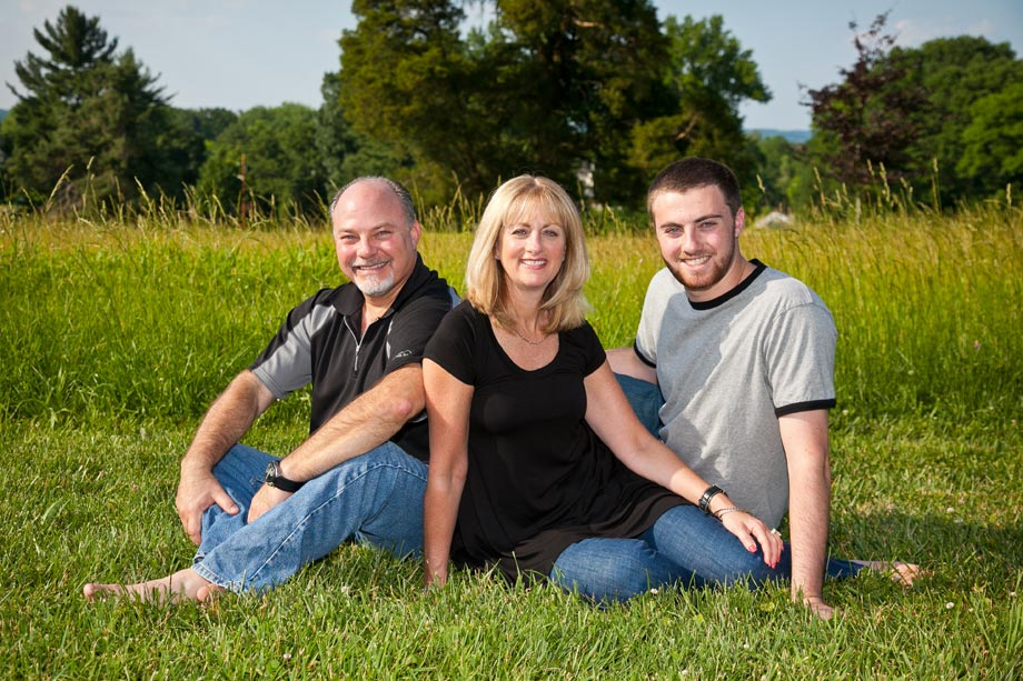 family portrait lying in grass