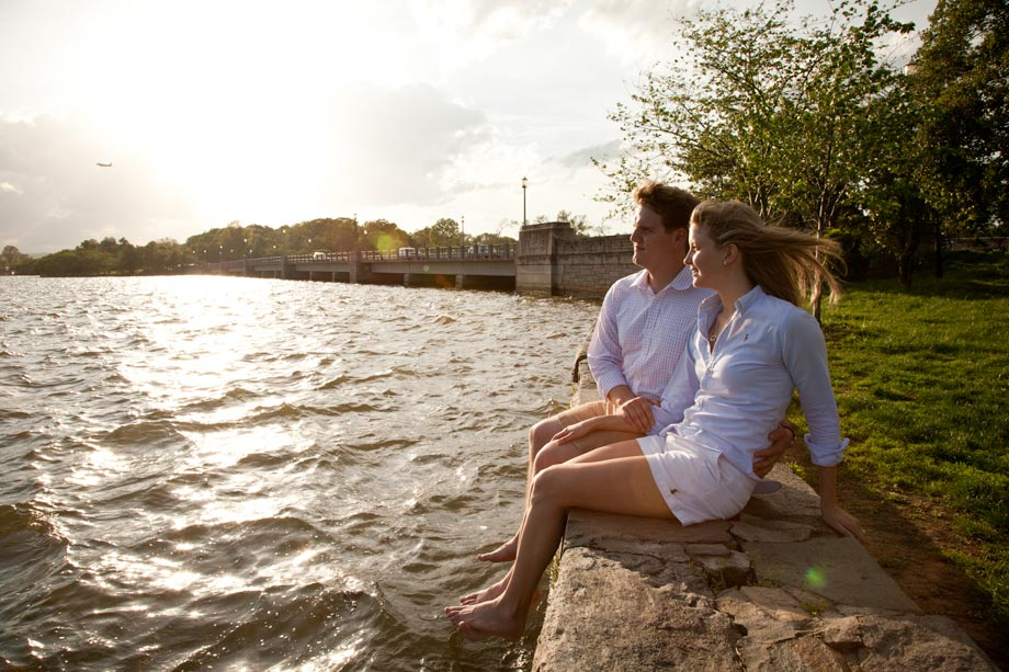 couple sitting by potomac river