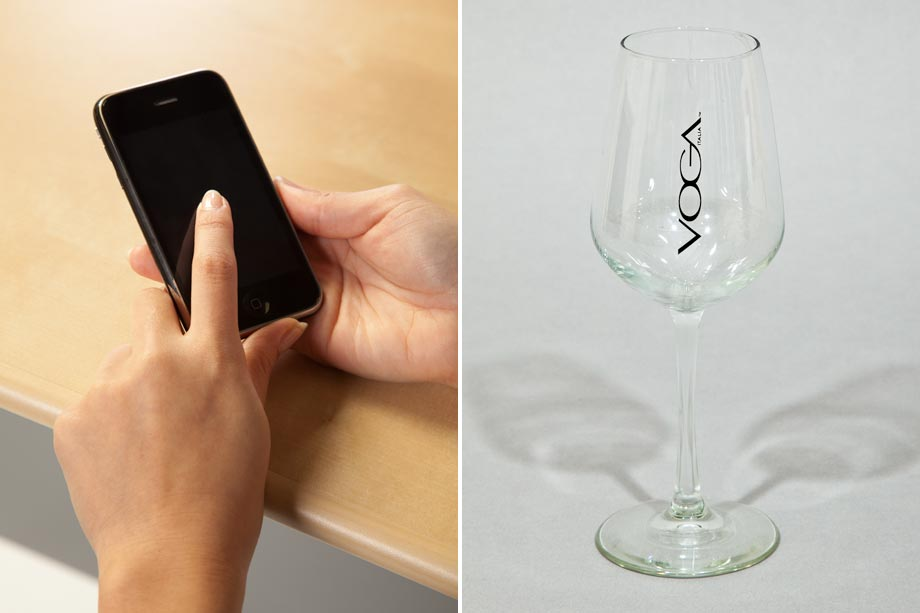 smart phone and wine glass