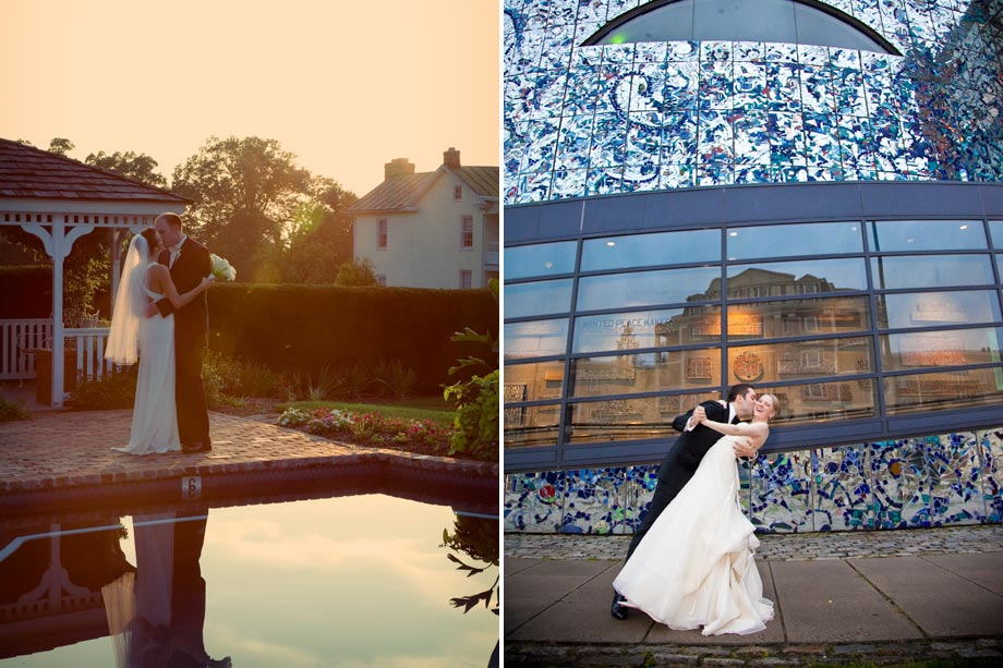 bride and groom and reflected water