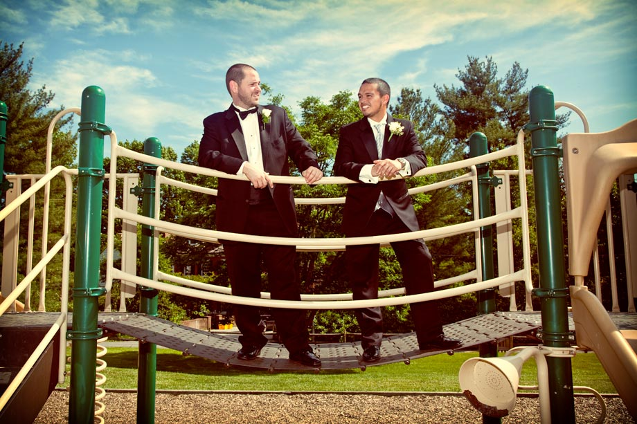 groomsmen on playground