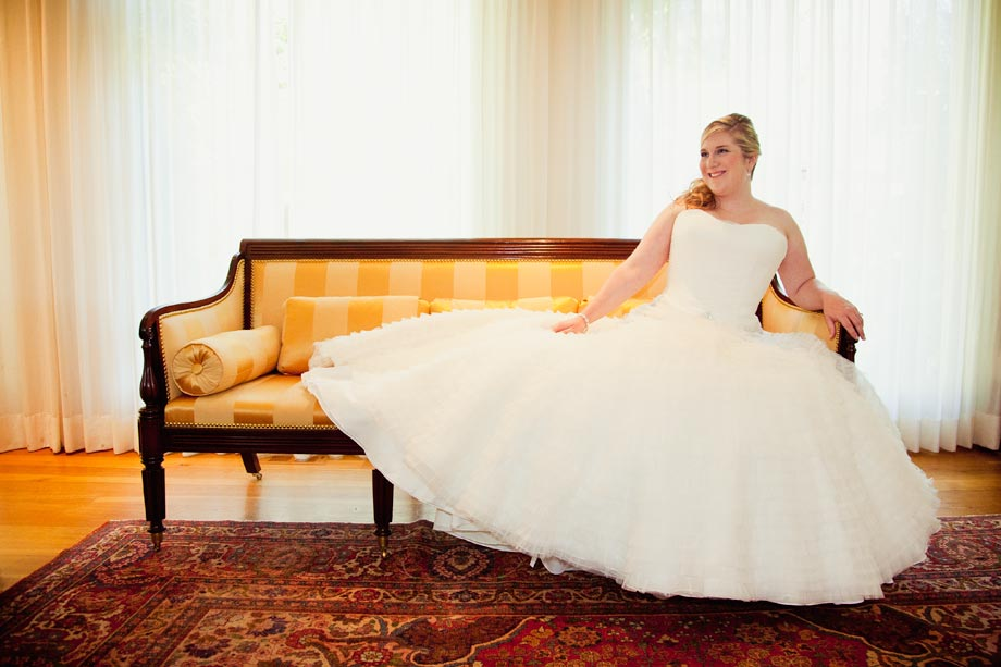 bride on antique couch