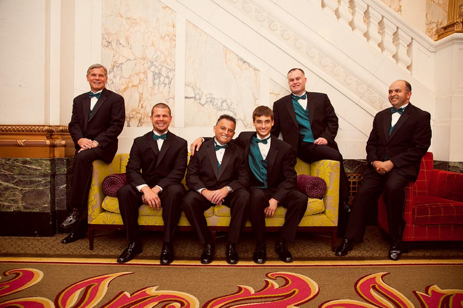 groomsmen at hotel monaco
