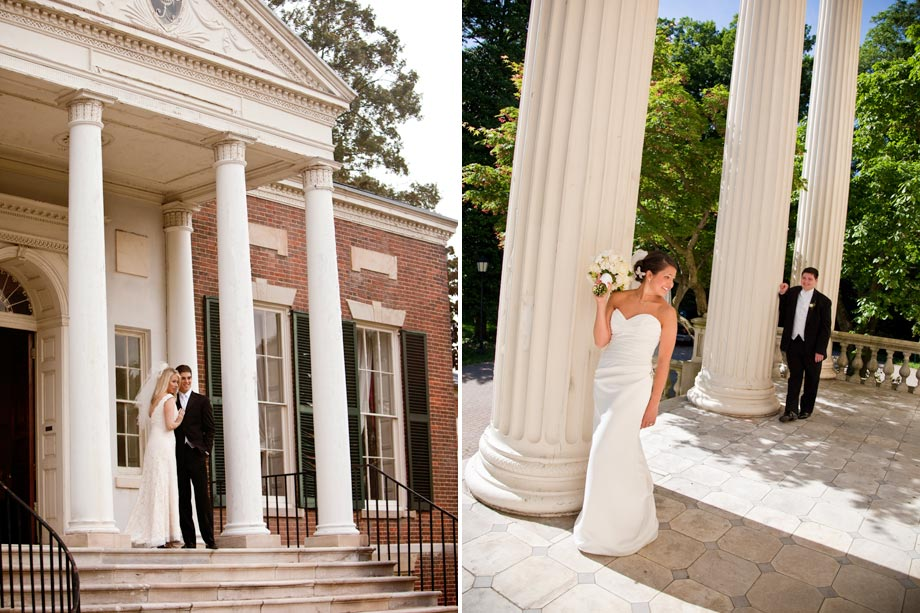bride and groom by roman columns