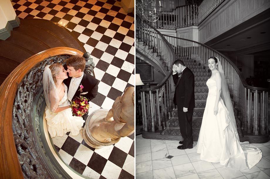 bride and groom by staircase