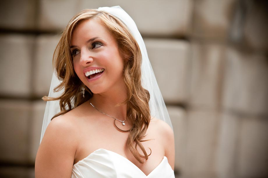 close up of bride smiling