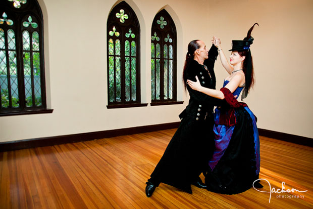 Gothic Bride and Groom dancing at Chase Court