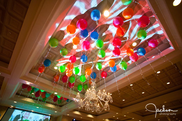 Balloons and lights on Suburban Ceiling