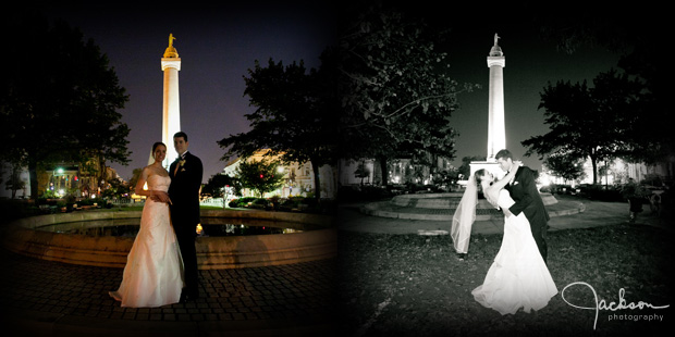 Bride and groom posing at the Washington Monument