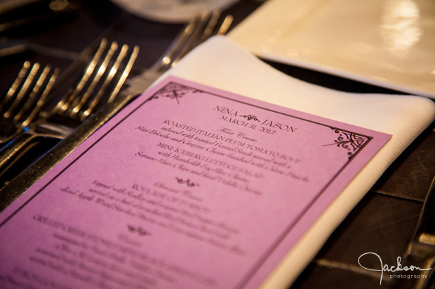 purple wedding menu stationery