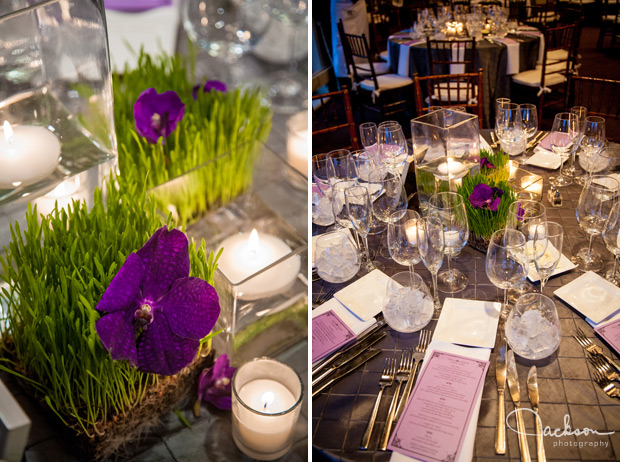 grass and purple flower table settings