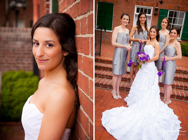 bride against brick wall
