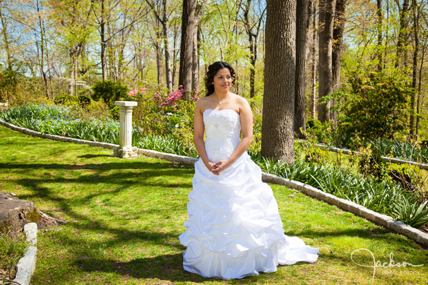 bride standing on grass in sunlight