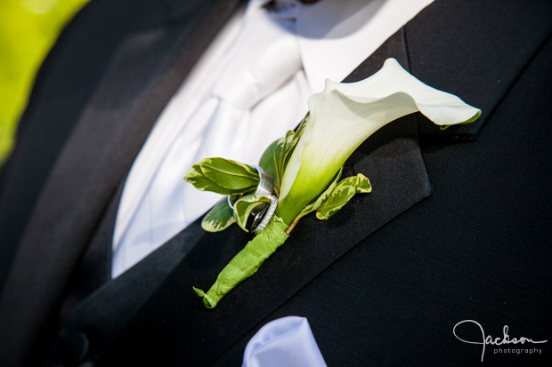 groom's boutonniere with rings