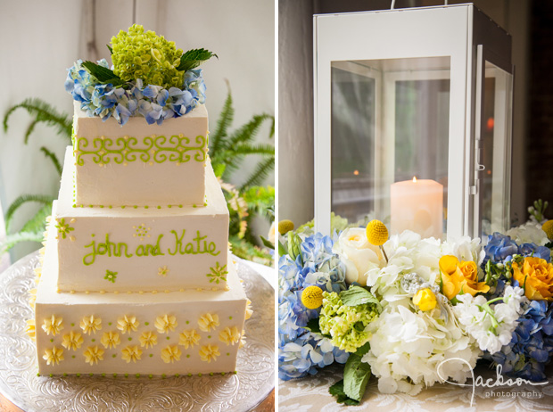 green yellow and white square wedding cake with lantern