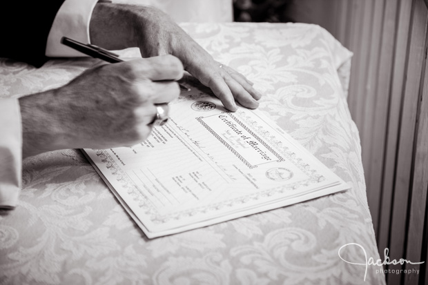 signing the wedding license