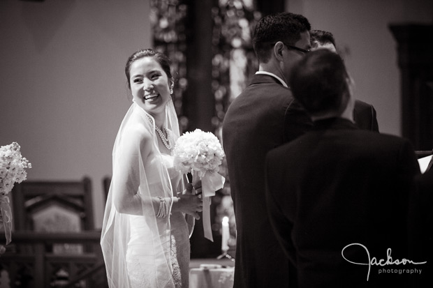 bride turning and smiling