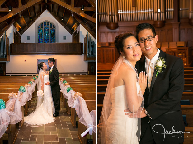 bride and groom posing in wooden church