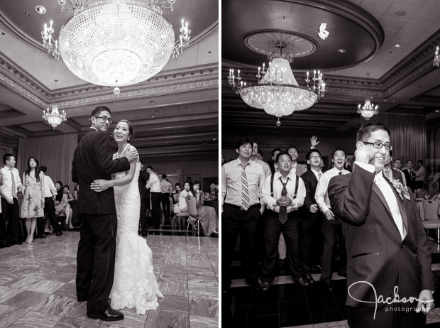 bride and groom dancing beneath large crystal chandolier