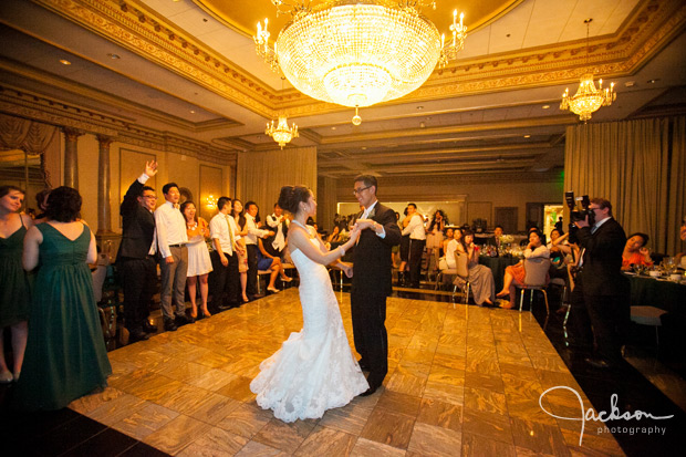 bride and groom dancing at the reception