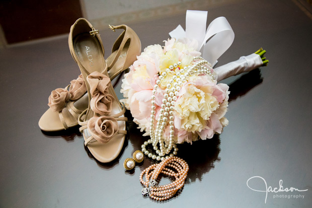 brown flowered shoes and pearls