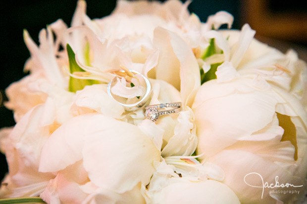Rings and Pink White Rose bouquet