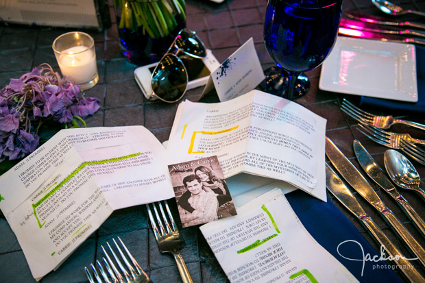printed vows on reception table