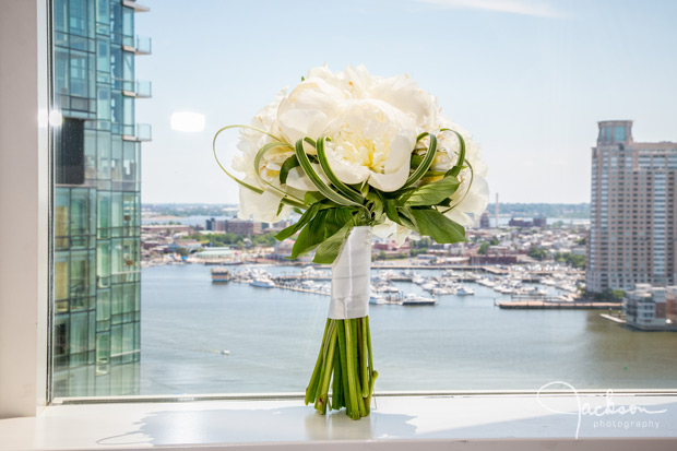 white and green rose bouquet