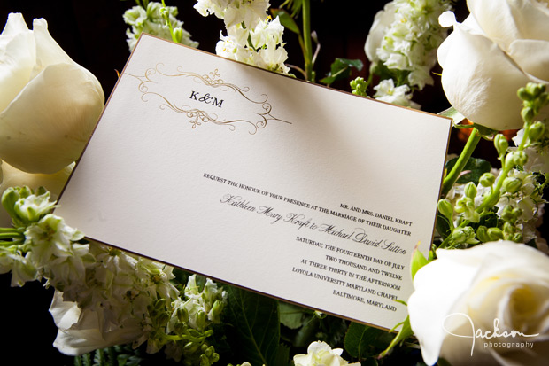 white wedding invitation with white roses
