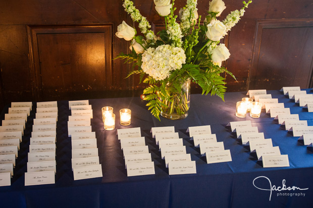 placecards with green bouquet and blue linen