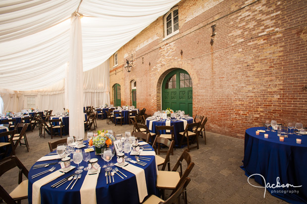 elaborate blue and white reception at evergreen