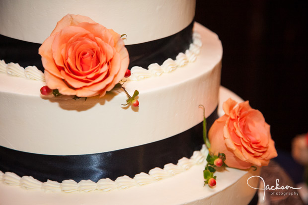 detail of blue white and orange cake