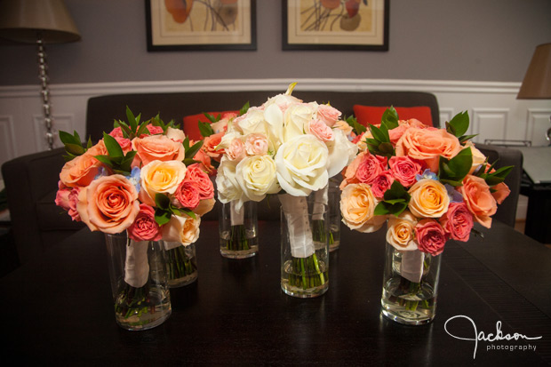 yellow orange and red bridesmaid bouquets