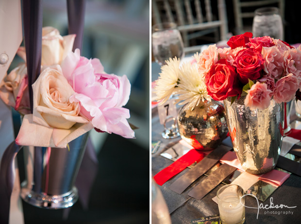 pink white red carnations and roses table flowers